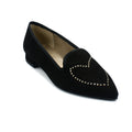 Black suede pointed toe flats for women