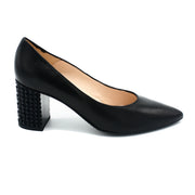 Women black block heel shoes