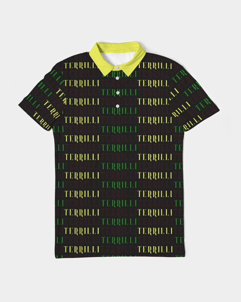 Terrilli Men's Slim Fit Short Sleeve Polo (Black/Yellow)