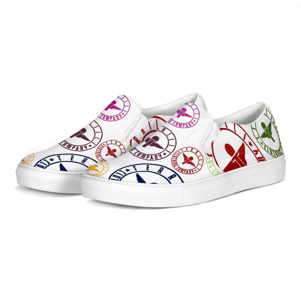 Terrilli Circle Logo White Slip-On Canvas Shoe