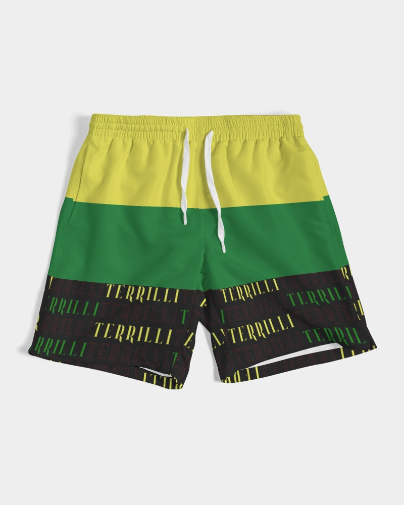 Men's Swim Trunk (Yellow/Green/Black)