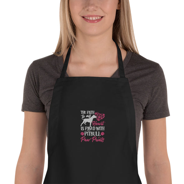 The Path to my Heart is Paved with Pitbull Paw Prints Embroidered Apron