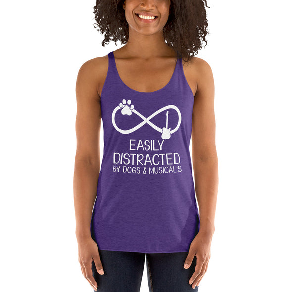 Easily Distracted By Dogs & Musicals Racerback Tank