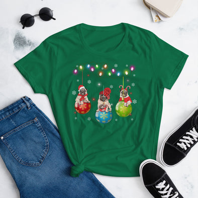 Puggy Christmas T-Shirt for Women