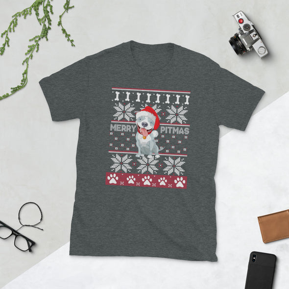 Merry Pitmas Funny Ugly Christmas Unisex T-Shirt