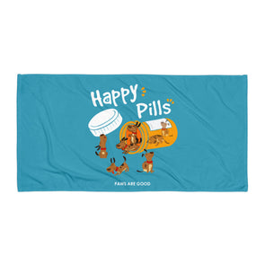 Beach Towel : Dogs are Happy Pills