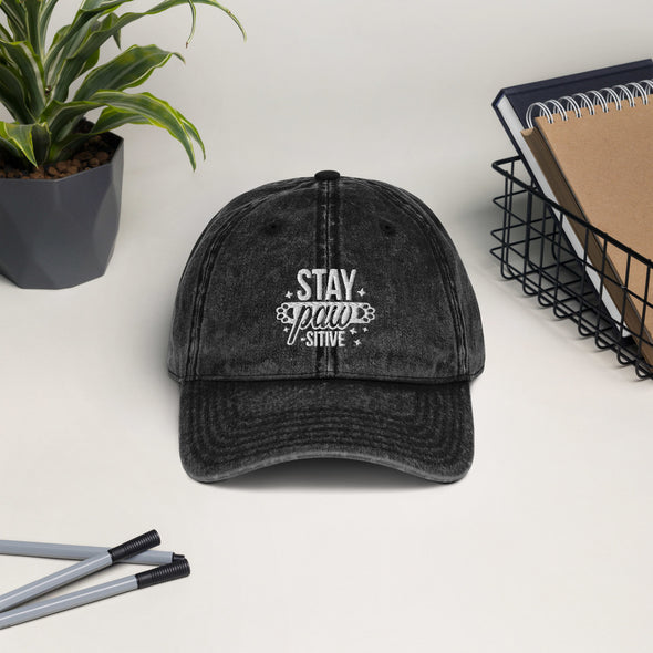 Stay Pawsitive Vintage Cotton Twill Cap