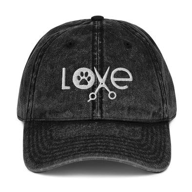 Paw Love Dog Groomer Hat Vintage Cotton Twill Cap