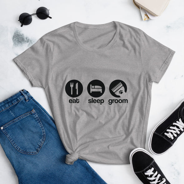 Eat Sleep Groom T-Shirt for Dog Groomer
