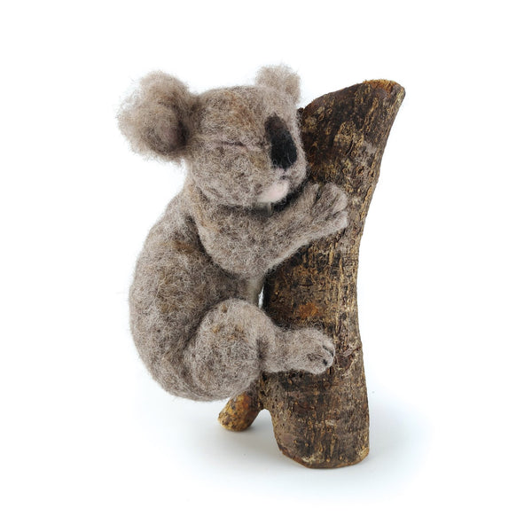 needle felted koala holding onto branch