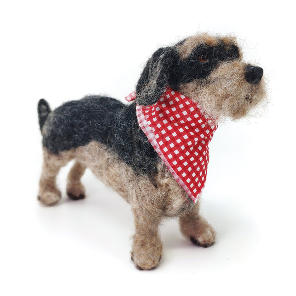Needle Felted Wire Hair Dachshund Wearing A Red and White Spotted Bandana