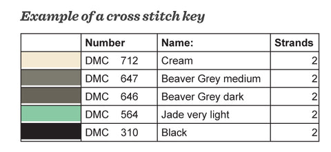 Example of a cross stitch key