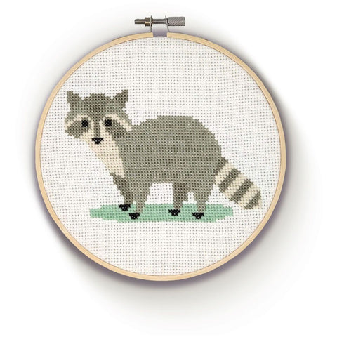 Racoon cross stitch finished