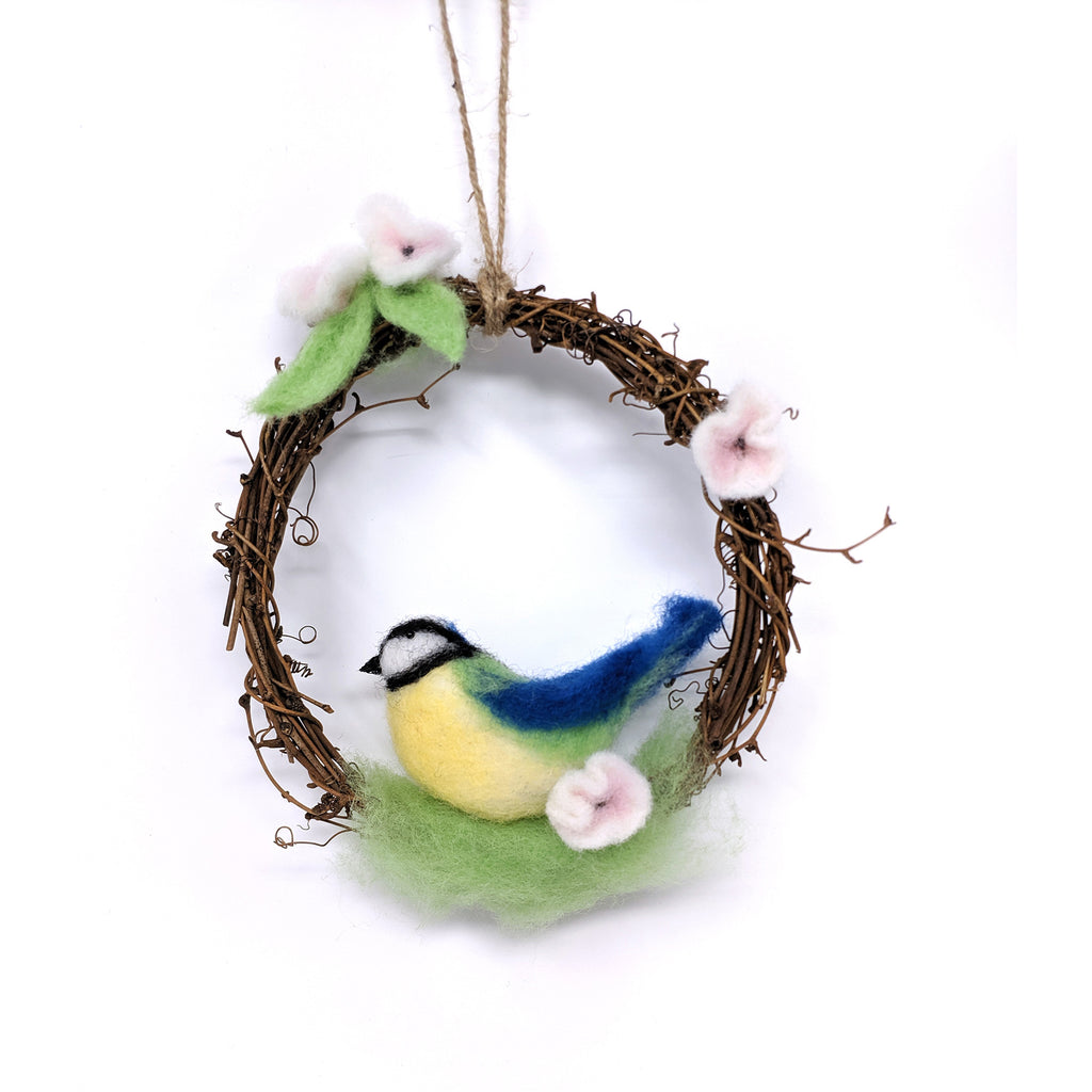 The Crafty Kit Company Spring Blue Tit Wreath Needle Felting Kit