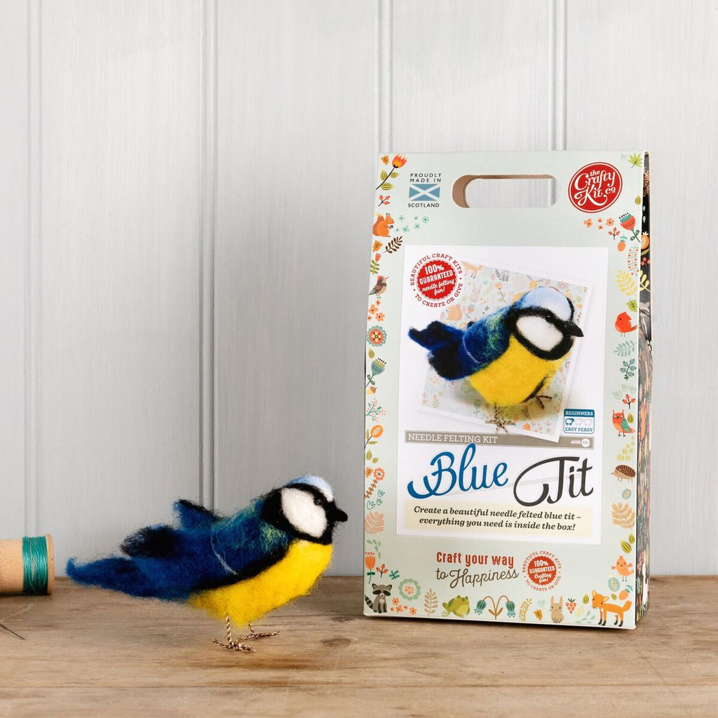 The Crafty Kit Company Blue Needle Felting Kit  Box and Blue Tit