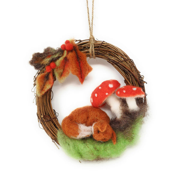 The Crafty Kit Company Autumn Fox Wreath Needle Felting Kit