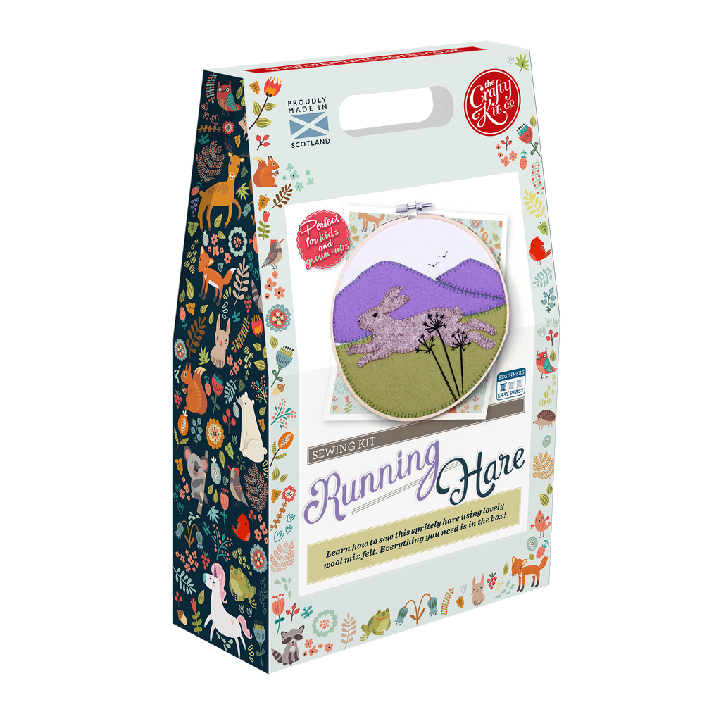 The Crafty Kit Company Running Hare Felt Appliqué Kit Box