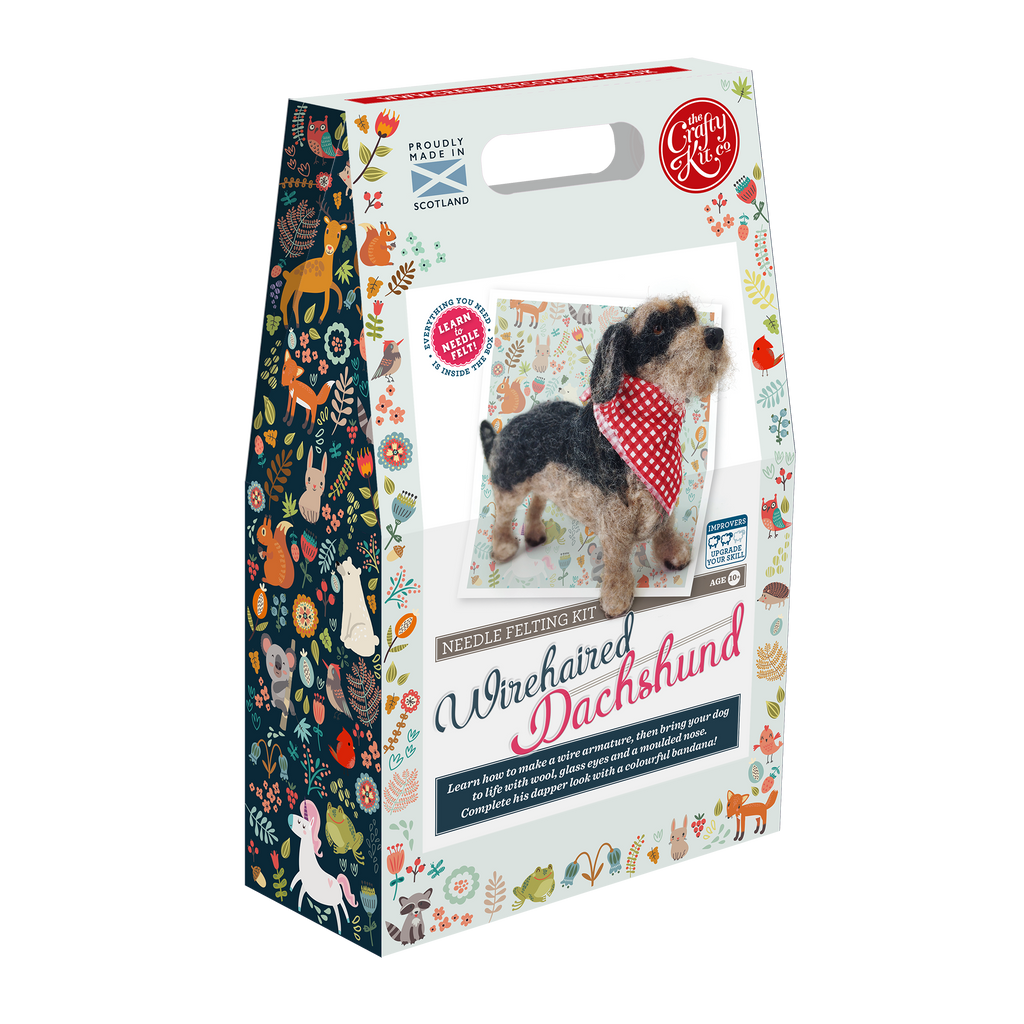 The Crafty Kit Company Miniature Wirehaired Dachshund Needle Felting Kit Box