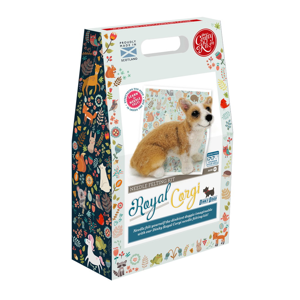 The Craft Kit Company Dinky Dogs Corgi Needle Felting Kit Box