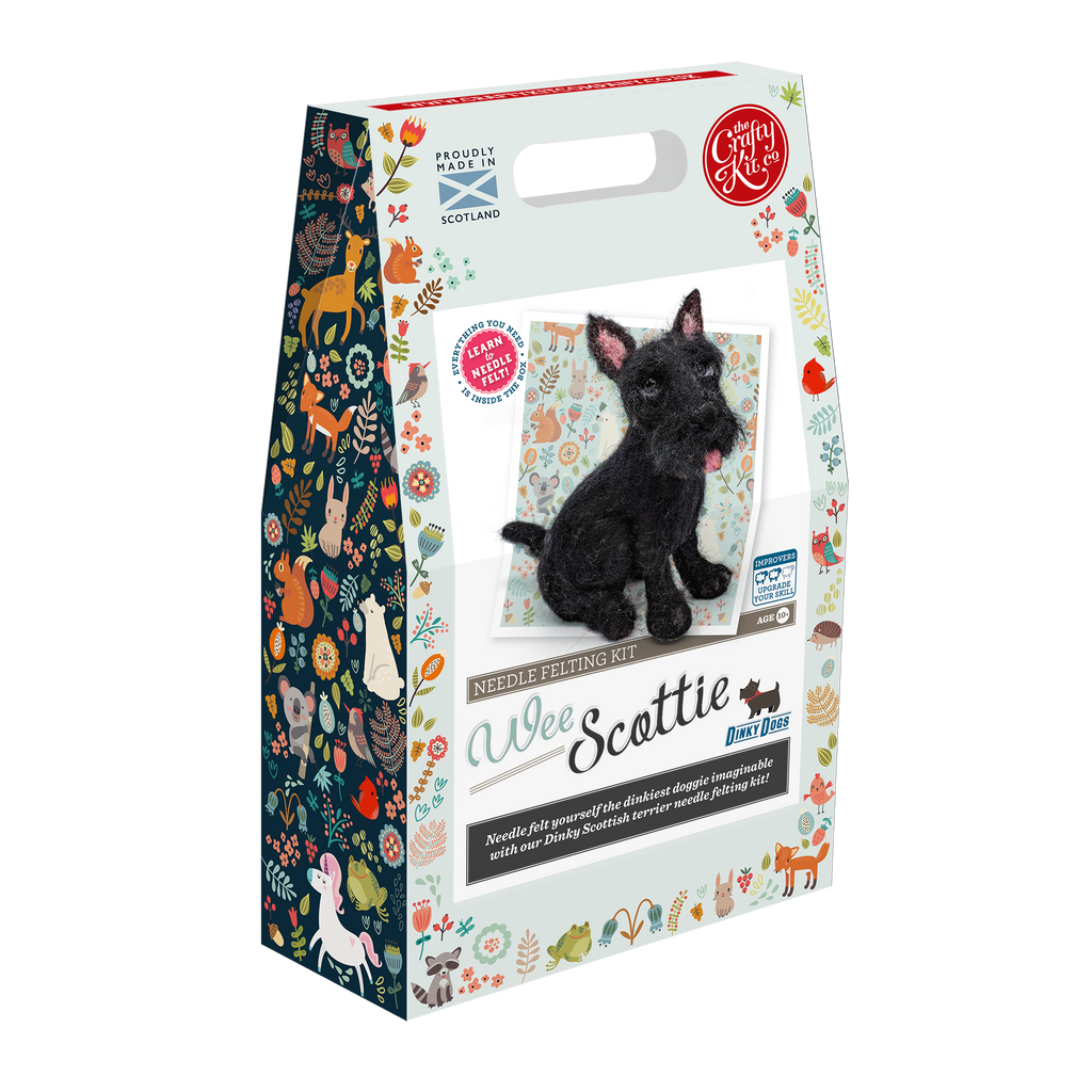 The Craft Kit Company Dinky Dogs Scottie Needle Felting Kit Box