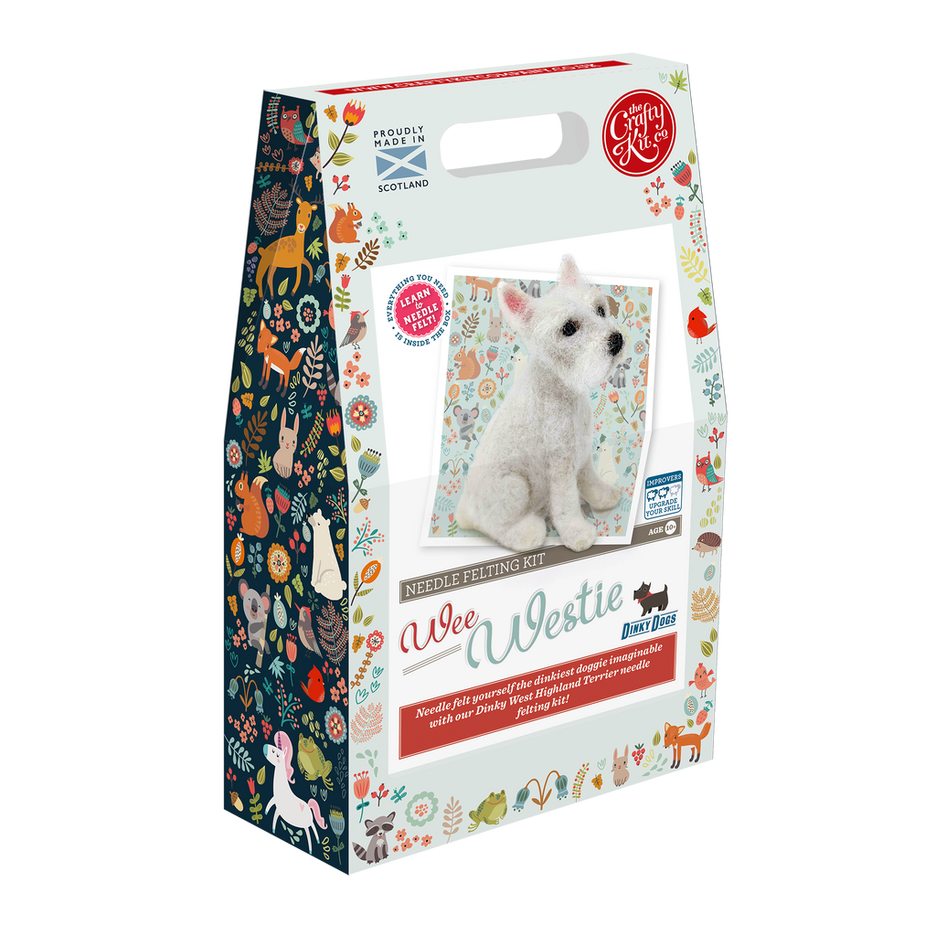 The Crafty Kit Company Dinky Dogs Westie Needle Felting Kit  Box