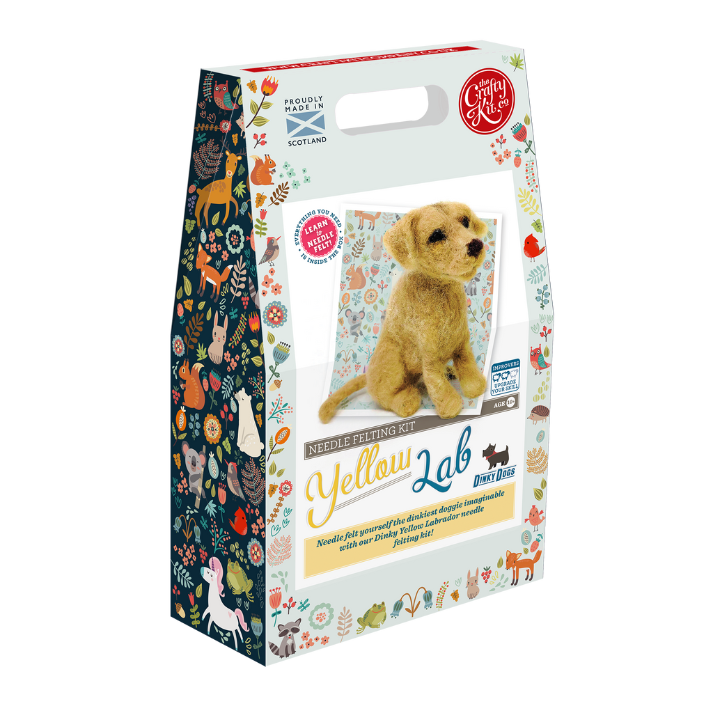 The Craft Kit Company Dinky Dogs Yellow Labrador Needle Felting Kit Box