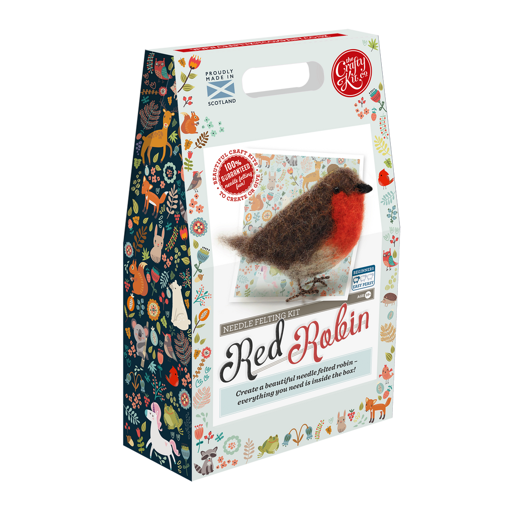 The Crafty Kit Company British Birds Robin Needle Felting Kit Box