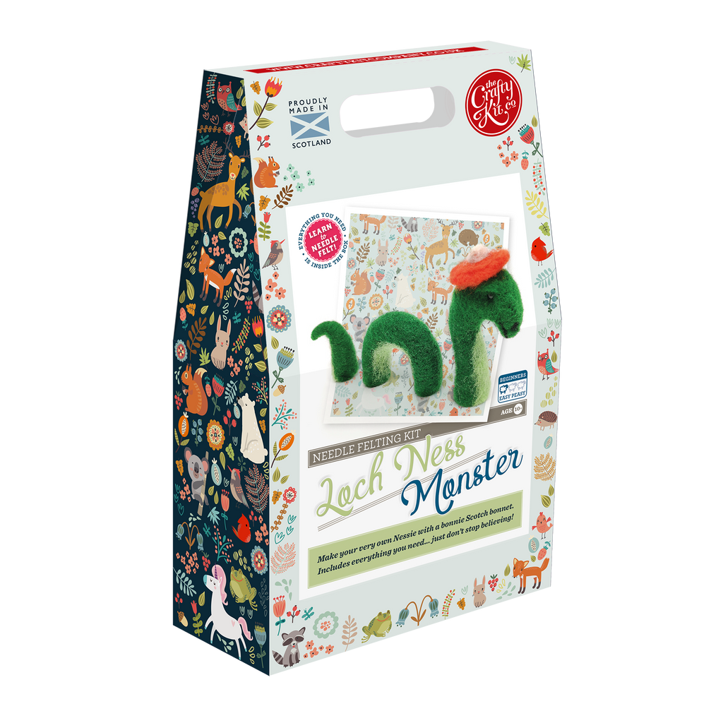 The Crafty Kit Company Loch Ness Monster Needle Felting Kit Box
