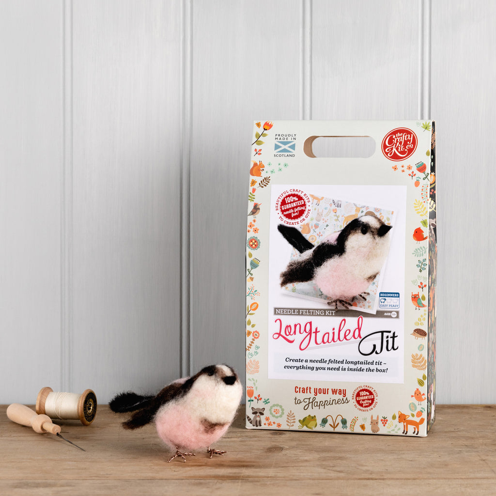 The Crafty Kit Company Long Tailed Tit Needle Felting Kit and Box