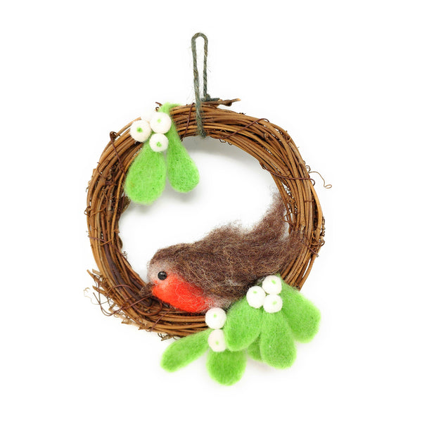 The Crafty Kit Company Christmas Robin Wreath Needle Felting Kit