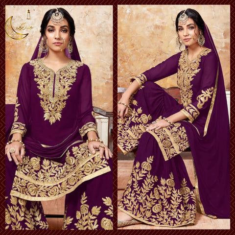 Purple And Gold Gharara Suit.