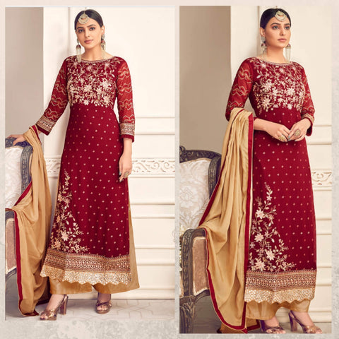 Red And Gold Palazzo Suit