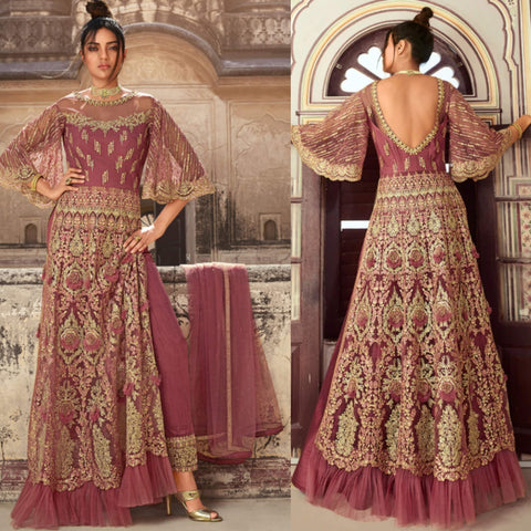dusty rose embroidered anarkali