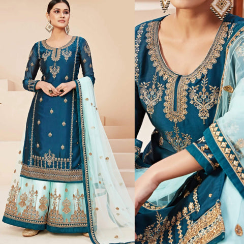 Teal and Light Blue Satin Georgette Sharara Suit