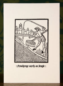Fishing with an Angle - hand-printed letterpress card