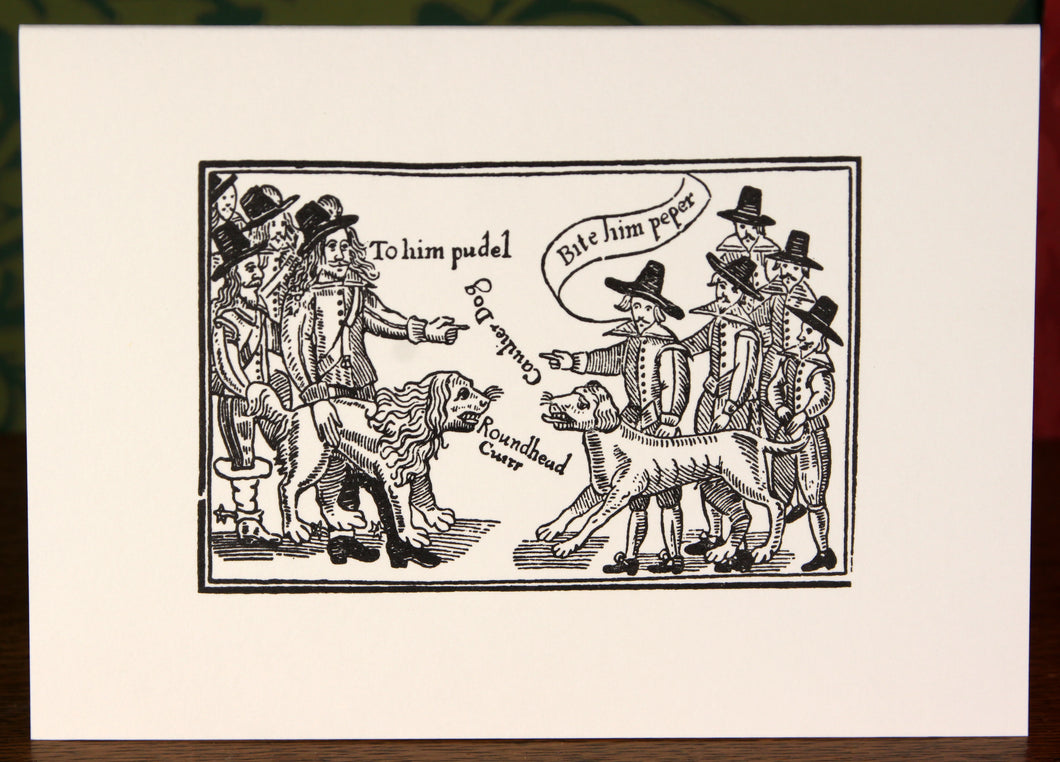 Cavalier and Roundhead dogs - hand-printed letterpress card
