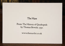 Load image into Gallery viewer, The Hare by Thomas Bewick, 1790 -  letterpress card