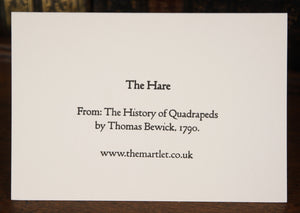 The Hare by Thomas Bewick, 1790 -  letterpress card