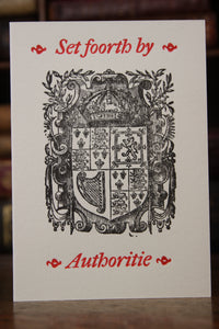 Stuart Royal Arms - Hand printed letterpress card
