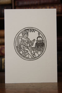 February from the Labours of the Month - letterpress card