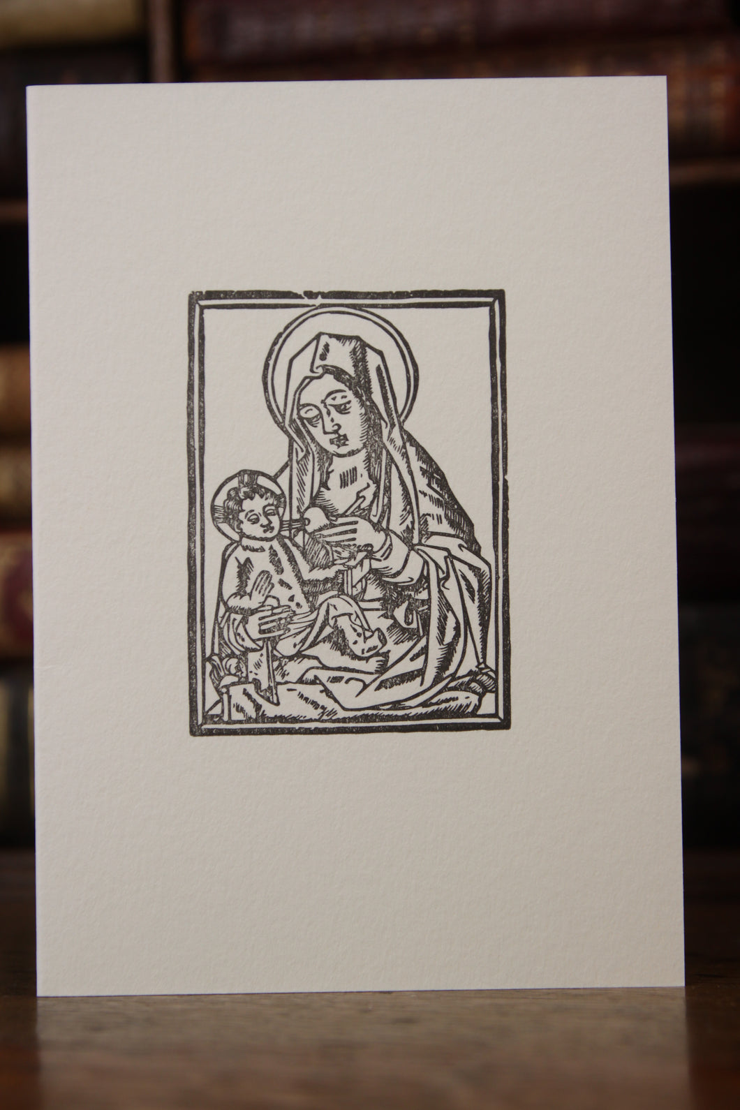 Virgin and Child - woodcut letterpress card