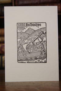 Woodcut Husbondrye 1525 -  Hand printed letterpress card
