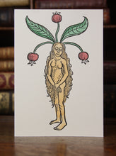 Load image into Gallery viewer, The Female Mandrake -  Hand coloured letterpress card