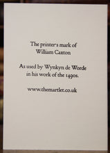 Load image into Gallery viewer, Caxton's printer's device -  hand-printed letterpress card