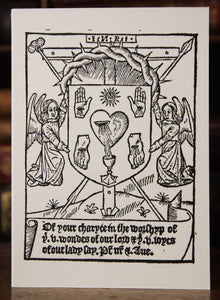 Medieval letterpress card - Five Wounds of Christ - hand printed - Catholic
