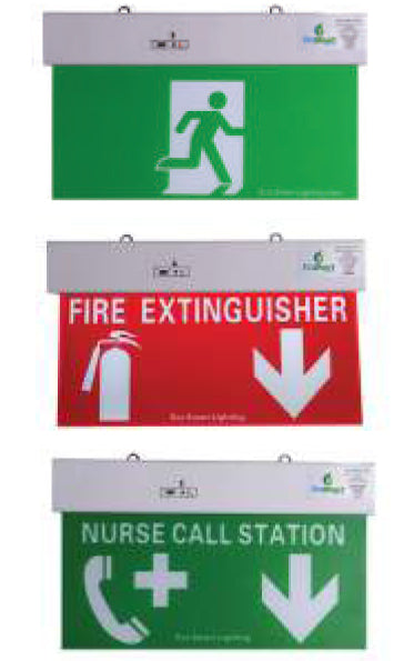 LED Exit Sign Extra low voltage temporary lighting, safe, quick to install, plug in construction lighting