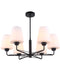 ABBEY1: Interior Pendant light. ES lamp x 6. 72W Matt Black Opal Glass. OD675mm x H530mm. CLA Lighting