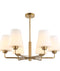 ABBEY2: Interior Pendant light. ES lamp X 6. 72W Matt Gold Opal Glass OD675mm x H530mm. CLA Lighting