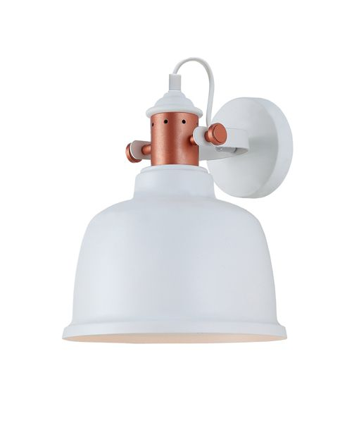 ALTA1W: Interior surface mounted wall lamps. ES Lamp.72W Matt White Adj BELL (copper highlights) H270 x OD225mm. CLA Lighting