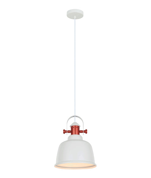 ALTA1: Interior single pendant light. ES lamp. 72W MATT White BELL, Copper Highlights OD225 x H290mm 3m cable. CLA Lighting